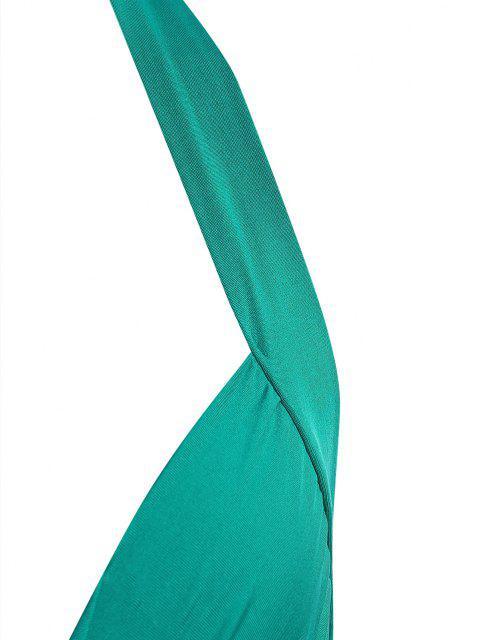 unique Halter Knot Cutout Split Side Slinky Maxi Dress - GREEN M Mobile
