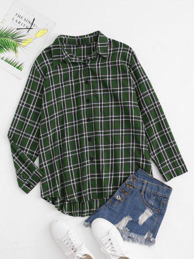 Plaid Boyfriend Button Down Shirt - Deep Green S