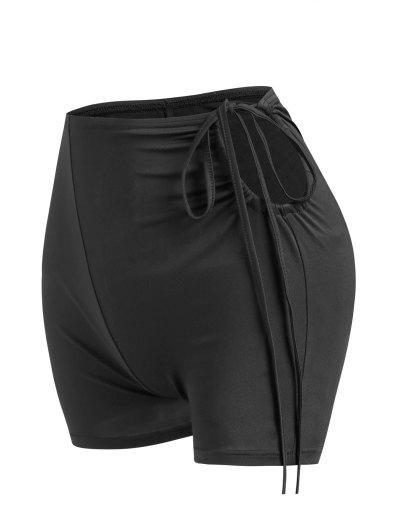 Ausschnitt Krawatte Pfirsicher Druck Boardhose - Schwarz L