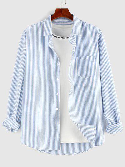 ZAFUL Gestreiftes Bedrucktes Hemd Mit Knopfleiste - Blau M