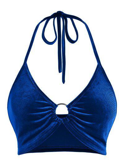 ZAFUL Halter Velvet Ring Crop Top - Blue Xl