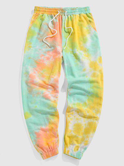 ZAFUL Tie Dye Print Drawstring Sports Pants - Orange Xxl
