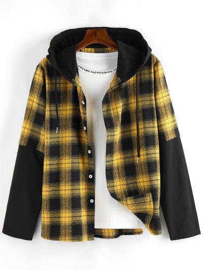 ZAFUL Plaid Colorblock Spliced Hooded Shirt - Yellow S