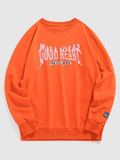 ZAFUL Kontrast Sweatshirt Mit Buchstabe Druck - Dunkles Orange Xl