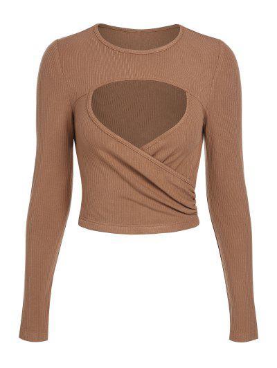 ZAFUL Ribbed Cutout Slim T Shirt - Coffee M