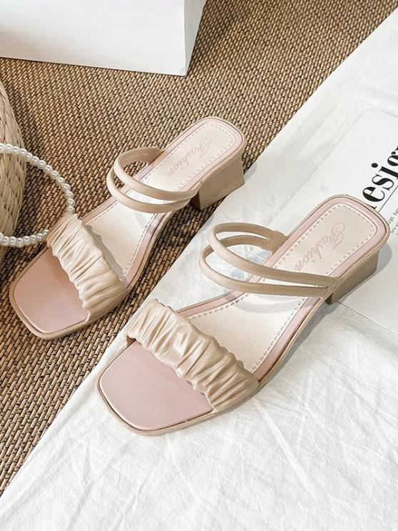 buy Square Toe Ruched Vamp Convertible Low Heel Sandals - LIGHT COFFEE EU 39