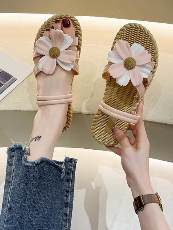 women Flower Embellished Convertible Beach Sandals - PINK EU 37
