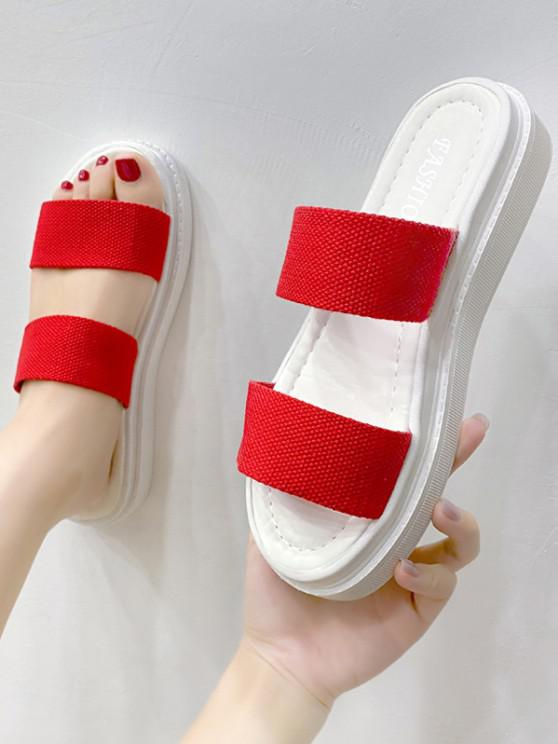 outfit Canvas Vamp Platform Slip-On Sandals - RED EU 37