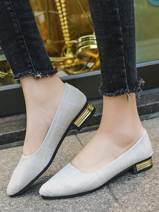 Spitze Karierter Druck Klobige Ferse Schuhe - Weiß EU 38