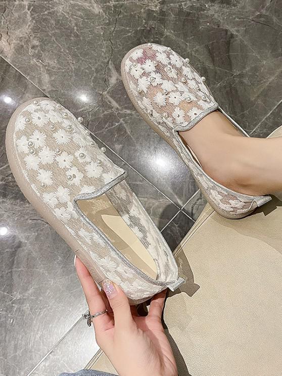 Floral Embroidery Faux Pearl Mesh Slip-On Shoes - أبيض الاتحاد الأوروبي 37