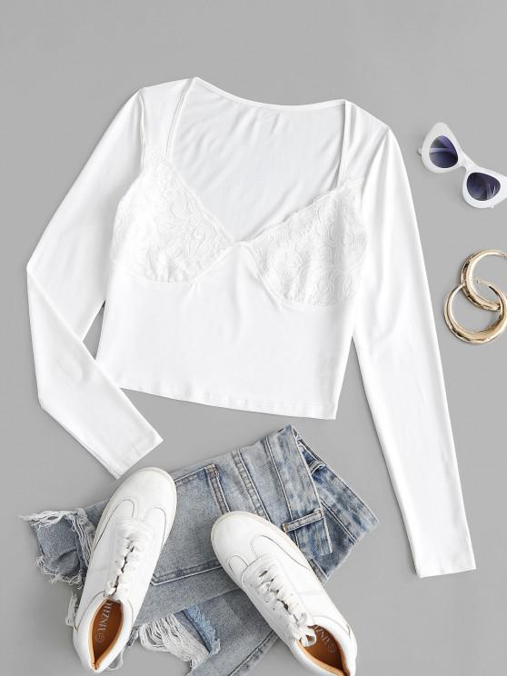 affordable Lace Panel Long Sleeve Jersey Tee - WHITE S