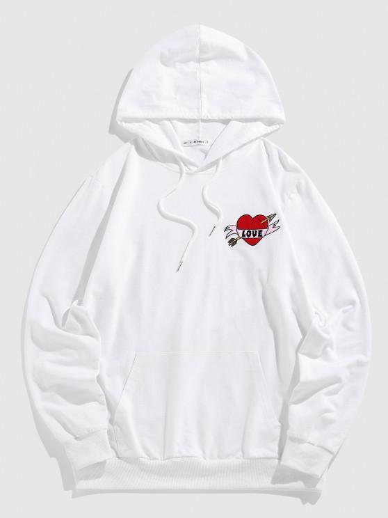 ZAFUL LOVE Heart Embroidered Kangaroo Pocket Hoodie - أبيض L