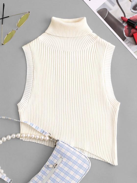 best Turtleneck Drop Armhole Asymmetrical Cropped Sweater Vest - WHITE ONE SIZE