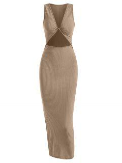Vestido De Chaleco Fruncido Con Corte Lateral - Café L
