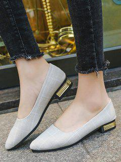 Pointed Toe Plaid Print Low Chunky Heel Shoes - White Eu 37