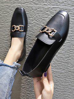 Square Toe Chain Embellished Flat Slip-On Shoes - Black Eu 37