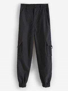 Pantalones Con Solapa Y Bolsillos - Negro S
