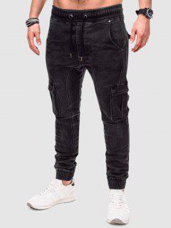Einfarbige Gepatchte Verdrehte Cargo Jeans - Schwarz S