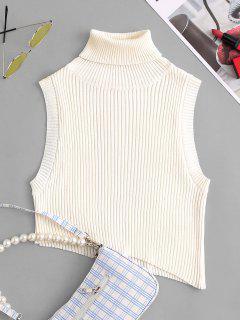 Turtleneck Drop Armhole Asymmetrical Cropped Sweater Vest - White