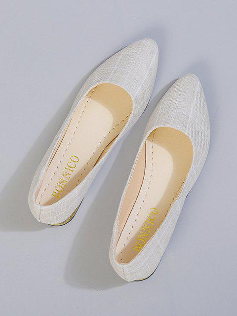 Spitze Karierter Druck Klobige Ferse Schuhe - Weiß EU 38 Mobile
