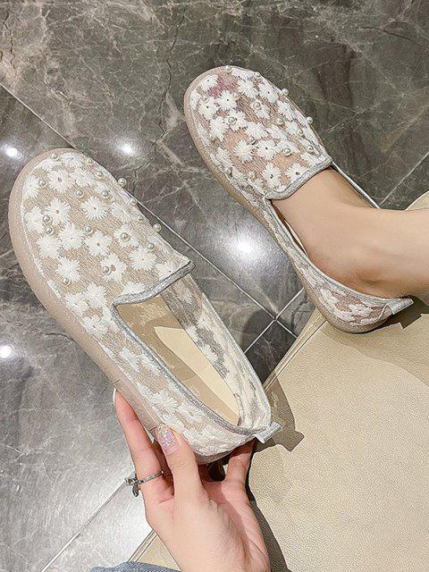 Blumen Stickerei Künstliche Perle Maschen Schlüpfende Schuhe - Weiß EU 37 Mobile