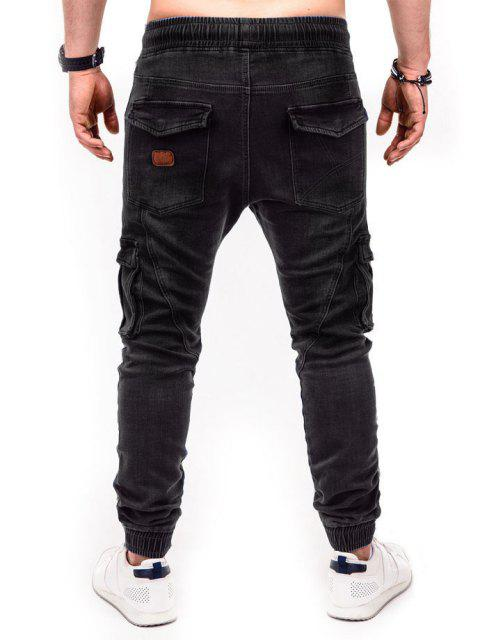 womens Solid Color Patched Twisted Cargo Jeans - BLACK S Mobile