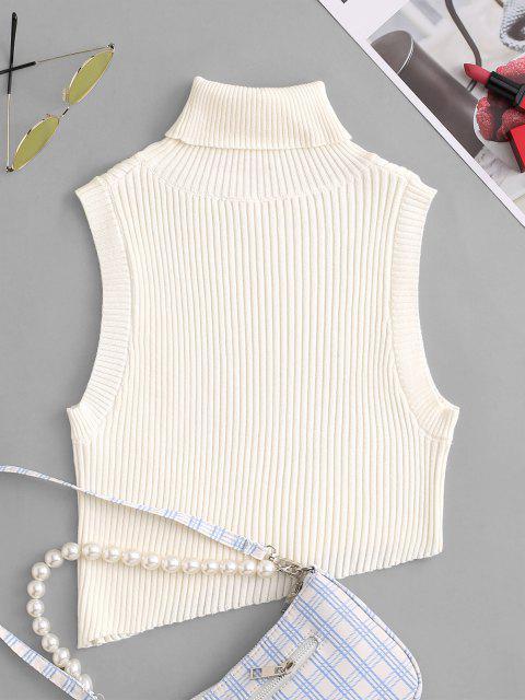 Chaleco Jersey Recortado Asimétrico con Cuello Tortuga - Blanco Talla única Mobile