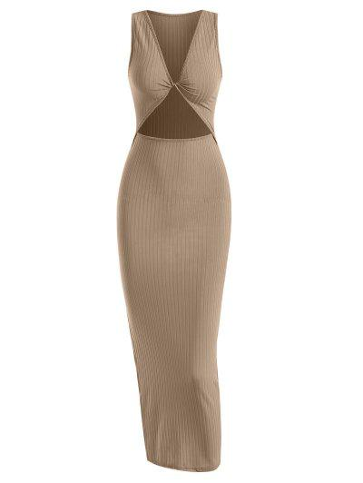 Rib-knit Twist Cutout Split Side Slinky Tank Dress - Coffee L