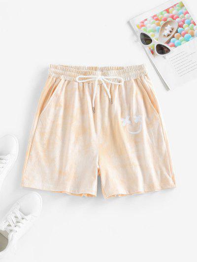 ZAFUL Tie Dye Smiling Face Pocket Sweat Shorts - Light Orange S