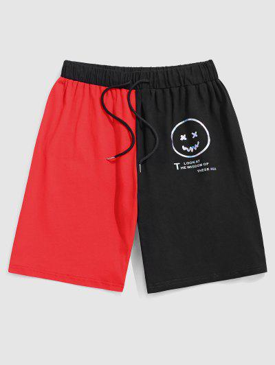 ZAFUL Reflective Face Letters Print Graphic Sports Shorts - Red S