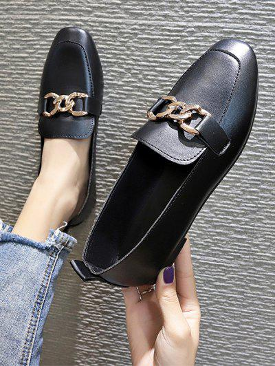 Square Toe Chain Embellished Flat Slip-On Shoes - Black Eu 39