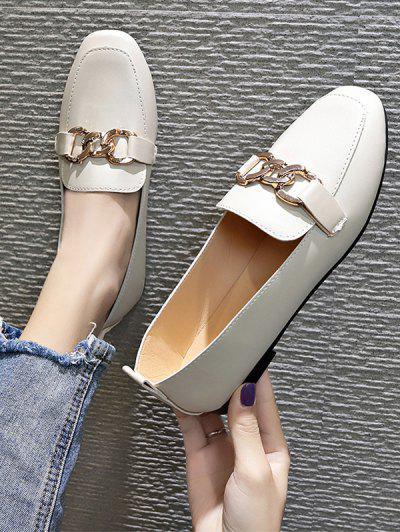 Square Toe Chain Embellished Flat Slip-On Shoes - Beige Eu 40