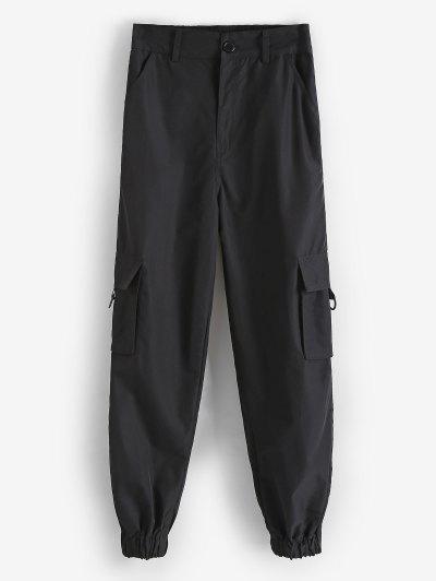Flap Pockets D-ring Cargo Pants - Black M