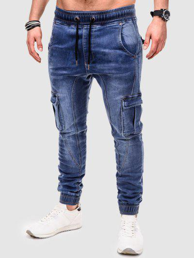 Solid Color Patched Twisted Cargo Jeans - Blue S