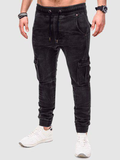 Jeans Cargo In Tinta Unita Attorcigliato - Nero Xs