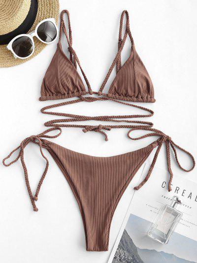 ZAFUL Ribbed Braided Strap Tie Side String Bikini Swimwear - Deep Coffee S