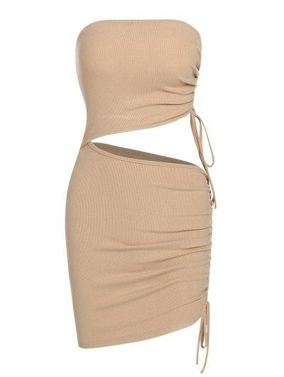 ZAFUL Cutout Cinched Strapless Bodycon Dress - Light Coffee S
