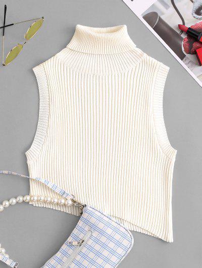 Rollkragen Armloch Asymmetrischer Kurzer Pullover Weste - Weiß