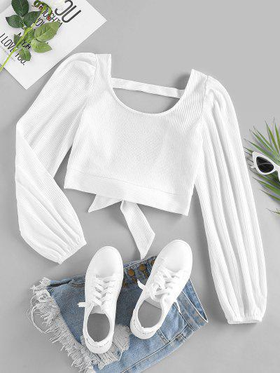 ZAFUL Ribbed Knit Cutout Bowknot Tee - White S