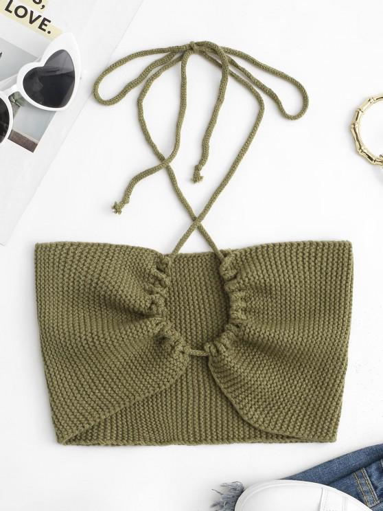 fancy Criss Cross Knitted String Cutout Crop Top - GREEN ONE SIZE