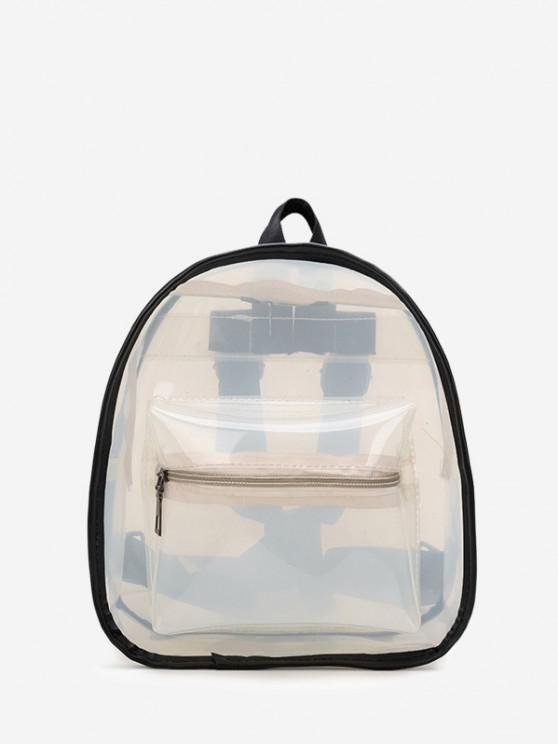 affordable Contrast Trim Transparent Backpack - WHITE