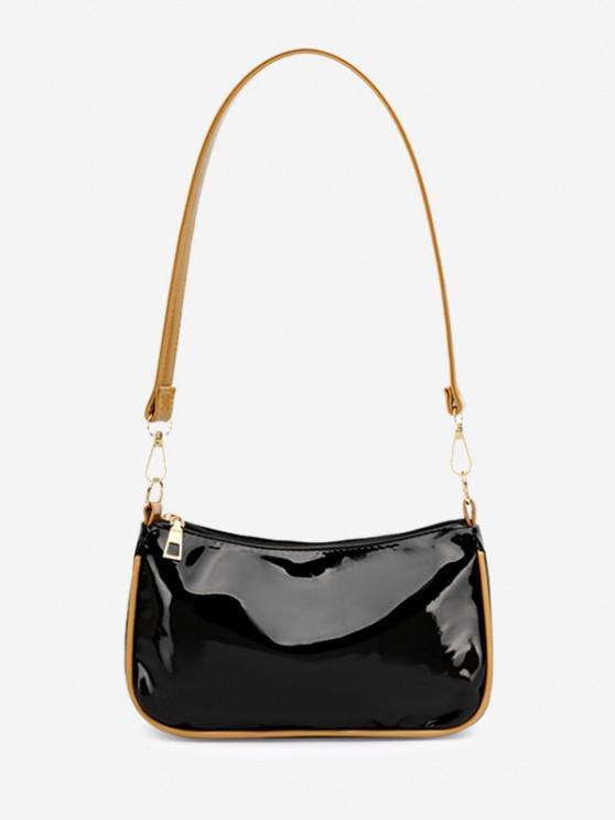 Minimalist Patent Leather Shoulder Bag - أسود