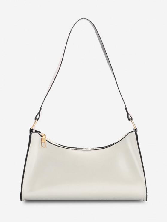 Brief Patent Leather Shoulder Bag - أبيض