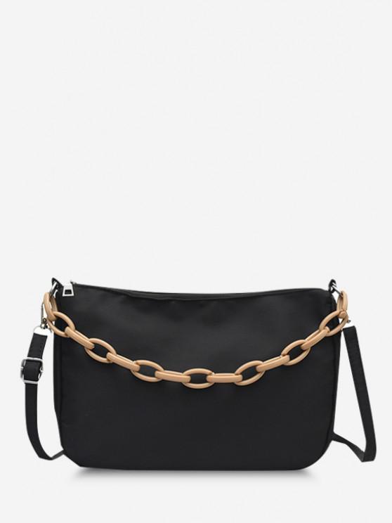 women's Chain Solid Casual Crossbody Bag - BLACK