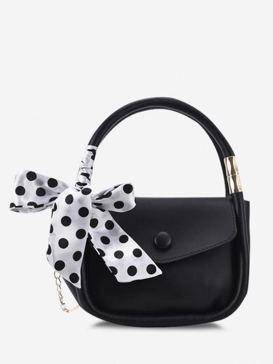 Chain Dot Scarf Crossbody Handbag - أسود