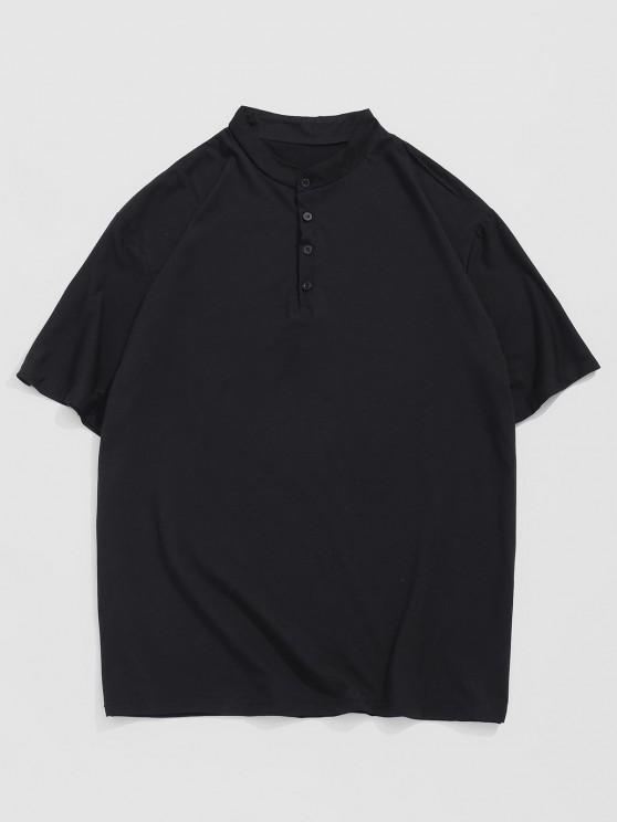 Short Sleeve Plain Henley T-shirt - أسود XXL