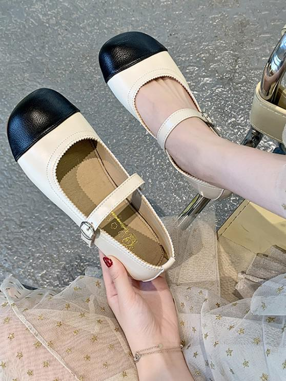Colorblock Round Toe Buckle Strap Faux Leather Shoes - أسود الاتحاد الأوروبي 37