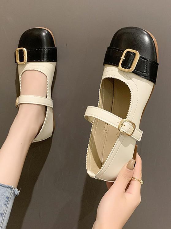 Round Toe Colorblock Buckle Belt Faux Leather Shoes - أسود الاتحاد الأوروبي 37