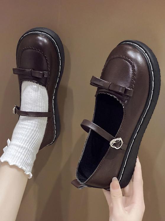 Round Toe Bowknot Heart Buckle Strap Faux Leather Shoes - ديب براون الاتحاد الأوروبي 37