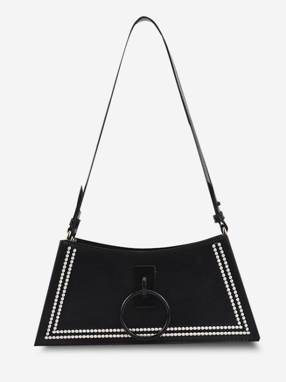 O Ring Embroidery Shoulder Bag - أسود